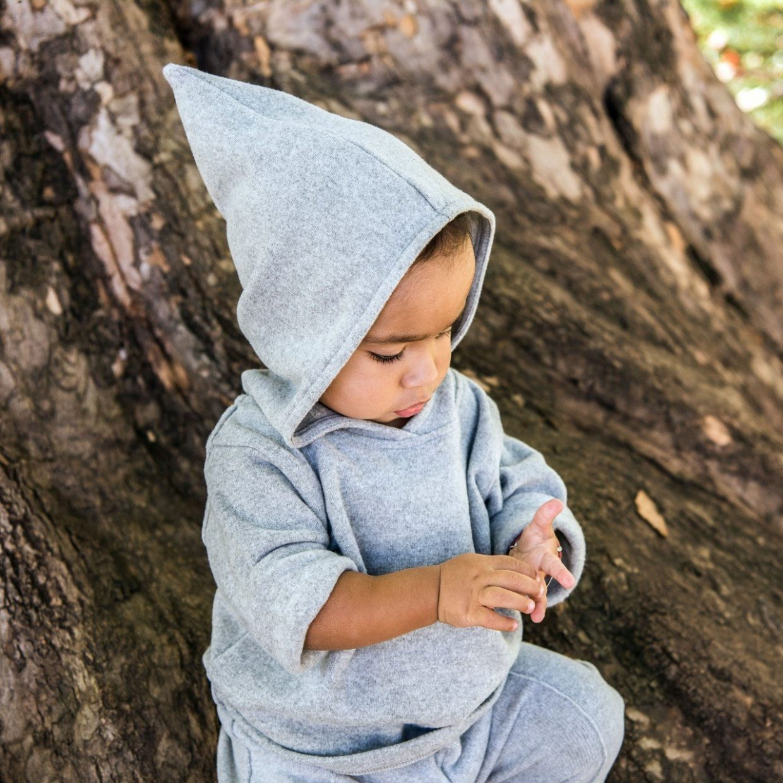fine knit grey hoodie