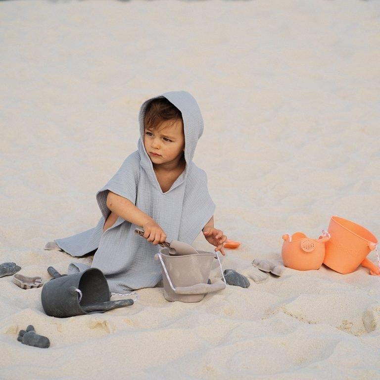 Пончо за плаж сиво